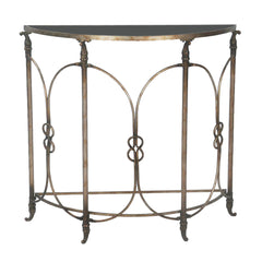 Bordeaux Demi Table in Black w/ Heavily Antiqued Silver Finish