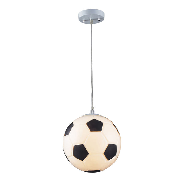 1 Light Soccer Ball Pendant In Silver