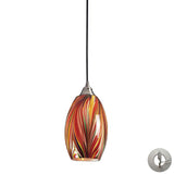 1 Light Pendant In Satin Nickel With Multi Colors Swirled Glass With Adapter Kit