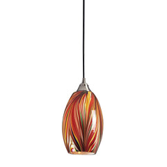 1 Light Pendant In Satin Nickel w/ Multi Colors Swirled Glass