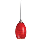 1 Light Pendant In Satin Nickel w/ Scarlet Red Glass
