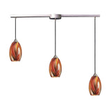 3 Light Pendant In Satin Nickel & Multi Glass - 36''x11''