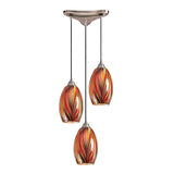 3 Light Pendant In Satin Nickel & Multi Glass - 10''x11''