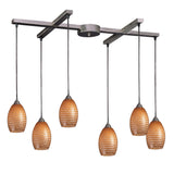 6 Light Pendant In Satin Nickel & Coco Glass - 33''x11''