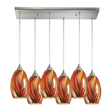 Mulinello 6 Light Pendant In Satin Nickel & Multi Glass - 30''x9''