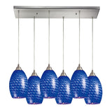 Mulinello 6 Light Pendant In Satin Nickel & Sapphire Glass - 30''x9''