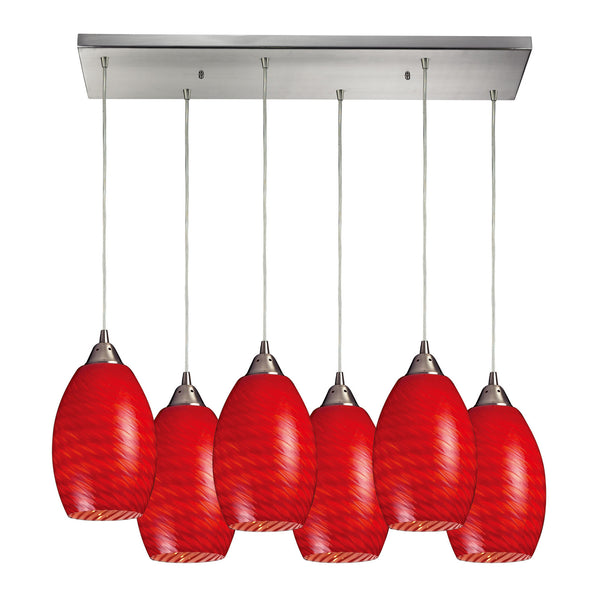 Mulinello 6 Light Pendant In Satin Nickel & Scarlet Red Glass - 30''x9''