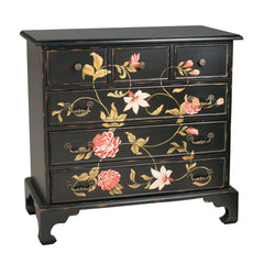In Bloom Chest in Black w/ Pink, Green, Cream Print