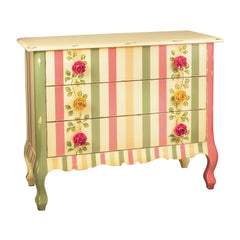 Multicolored Rose Dresser Chest in Pink, Green and Cream