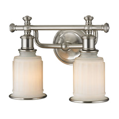 Acadia Collection 2 light bath in Brushed Nickel