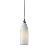 1 Light Pendant In Satin Nickel w/ White Swirl Glass