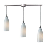 3 Light Pendant In Satin Nickel & White Swirl Glass