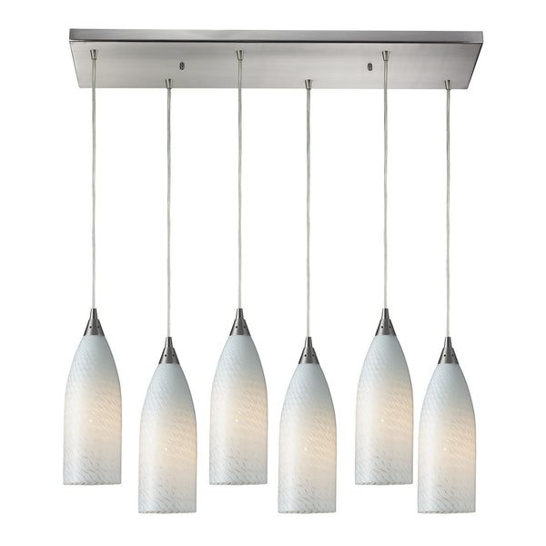 Cilindro 6 Light Pendant In Satin Nickel & White Swirl Glass