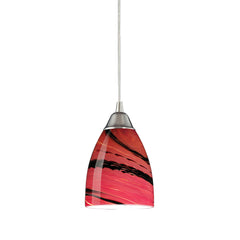 1 Light Pendant In Satin Nickel & Autumn Glass