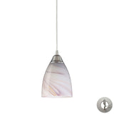 1 Light Pendant In Satin Nickel and Creme Glass With Adapter Kit