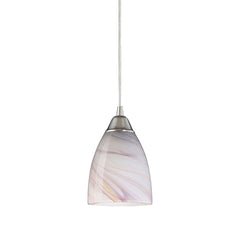 1 Light Pendant In Satin Nickel & Creme Glass