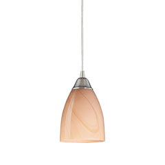 1 Light Pendant In Satin Nickel & Sandy Glass
