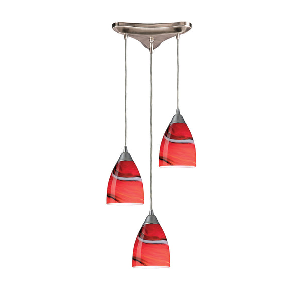 3 Light Pendant In Satin Nickel & Candy Glass - 10''x8''