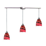 3 Light Pendant In Satin Nickel & Autumn Glass - 36''x8''