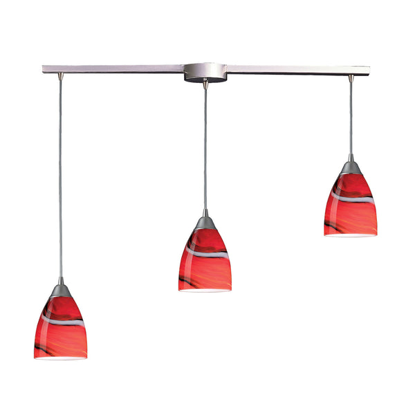3 Light Pendant In Satin Nickel & Candy Glass - 36''x8''