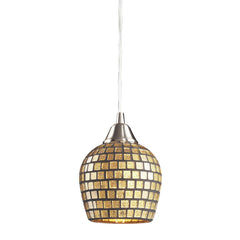 1 Light Pendant In Satin Nickel & Gold Mosaic Glass