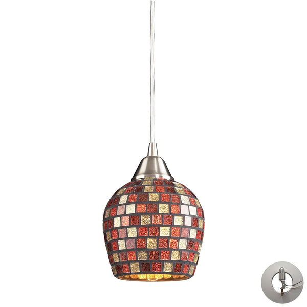 1 Light Pendant In Satin Nickel and Multi Mosaic Glass With Adapter Kit