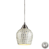 1 Light Pendant In Satin Nickel and Silver Mosaic Glass With Adapter Kit