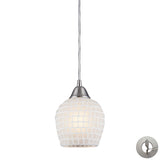 1 Light Pendant In Satin Nickel and White Mosaic Glass With Adapter Kit