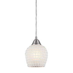 1 Light Pendant In Satin Nickel & White Mosaic Glass