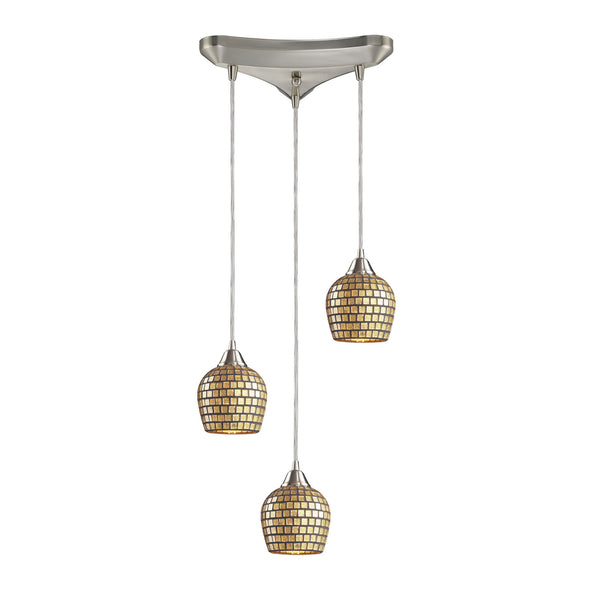 3 Light Pendant In Satin Nickel & Gold Mosaic Glass - 10''x9''
