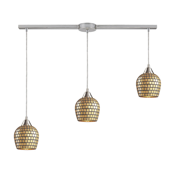 3 Light Linear Pendant In Satin Nickel & Gold Mosaic Glass - 36''x9''
