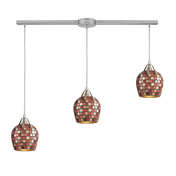 3 Light Linear Pendant In Satin Nickel & Multi Mosaic Glass - 36''x9''