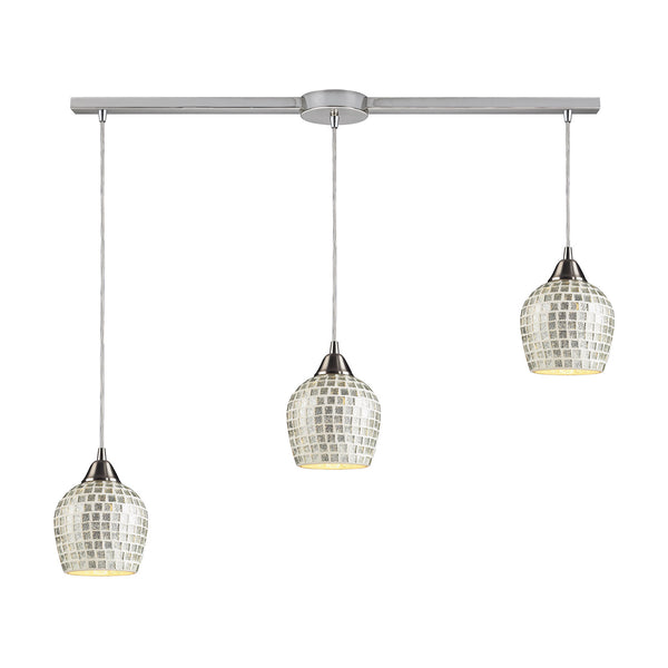 3 Light Linear Pendant In Satin Nickel & Silver Mosaic Glass - 36''x9''