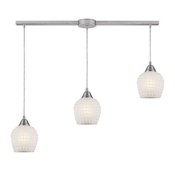 3 Light Linear Pendant In Satin Nickel & White Mosaic Glass - 36''x9''
