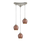 3 Light Pendant In Satin Nickel & Multi Mosaic Glass - 10''x9''