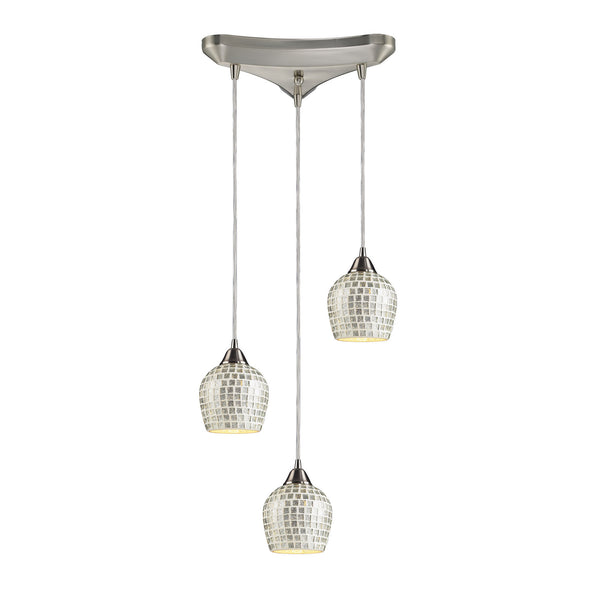 3 Light Pendant In Satin Nickel & Silver Mosaic Glass - 10''x9''