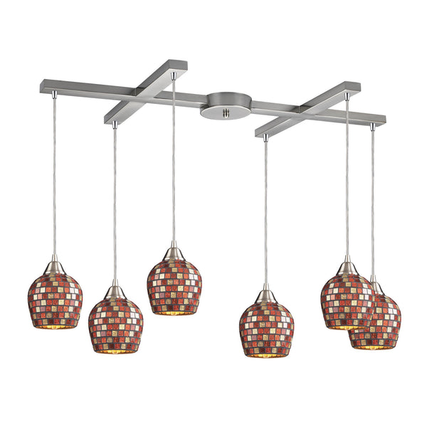 6 Light Pendant In Satin Nickel & Multi Mosaic Glass - 33''x9''