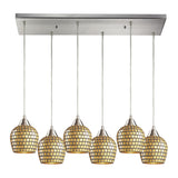 Fusion 6 Light Pendant In Satin Nickel & Gold Mosaic Glass - 30''x9''