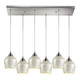 Fusion 6 Light Pendant In Satin Nickel & Silver Mosaic Glass - 30''x9''