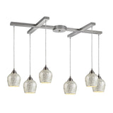 6 Light Pendant In Satin Nickel & Silver Mosaic Glass - 33''x9''