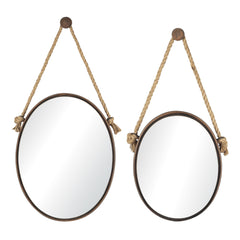 Rust Oval Mirrors On Rope - Set of 2