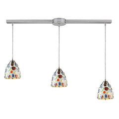 3 Light Genstone Pendant With Satin Nickel Hardware