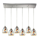 Gemstones 6 Light Pendant In Satin Nickel