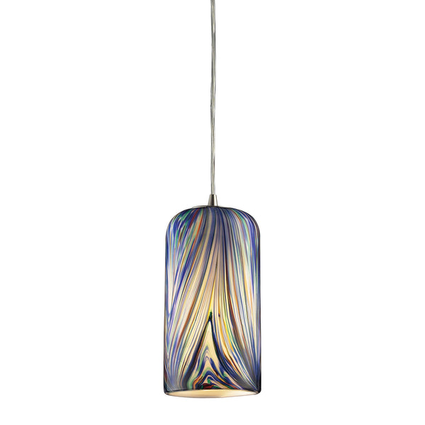 1 Light Pendant In Satin Nickel & Molten Ocean Glass