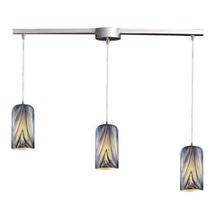 3 Light Pendant In Satin Nickel and Molten Ocean Glass