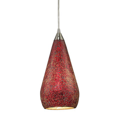 1 Light Pendant In Satin Nickel w/ Ruby Crackle