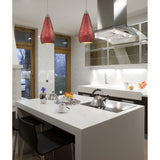 ELK Lighting 1 Light Pendant In Satin Nickel w/ Ruby Crackle