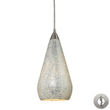 1 Light Pendant In Satin Nickel With Silver Crackle With Adapter Kit