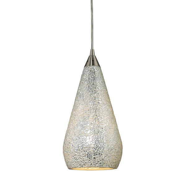 1 Light Pendant In Satin Nickel w/ Silver Crackle