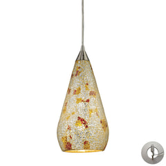 1 Light Pendant In Satin Nickel With Silver Multicolored Crackle With Adapter Kit